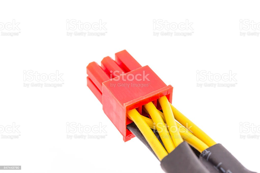 Close Up PCI-E cable video card stock photo