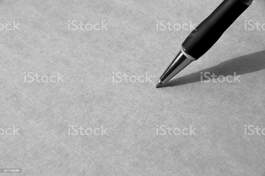 Close up Pen on paper, with copy space for text stock photo