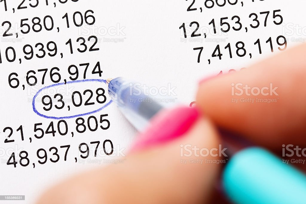 Close up pen rings odd number out on financial spreadsheet royalty-free stock photo