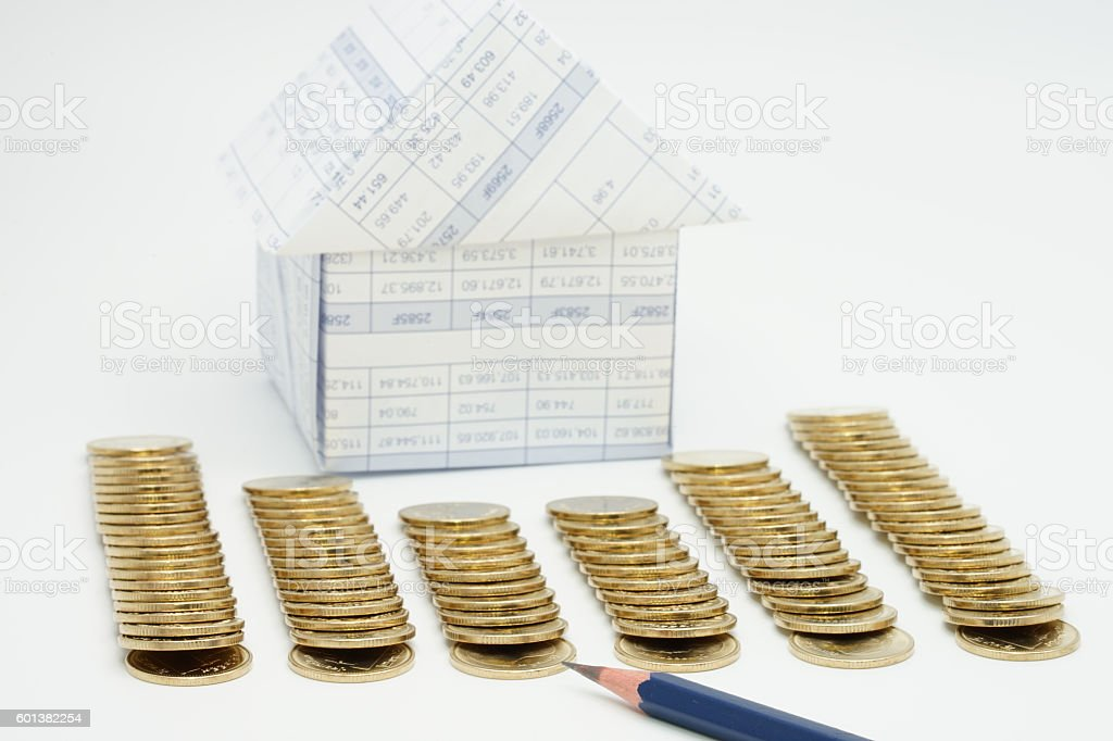 Close up pencil with step of gold coins royalty-free stock photo
