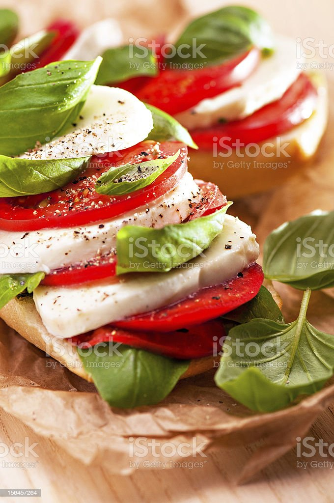 Close up photo of a Caprese sandwich stock photo