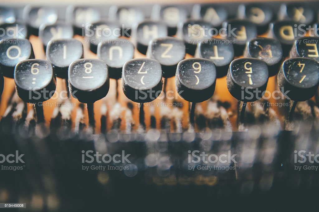 Close up photo of antique typewriter keys stock photo