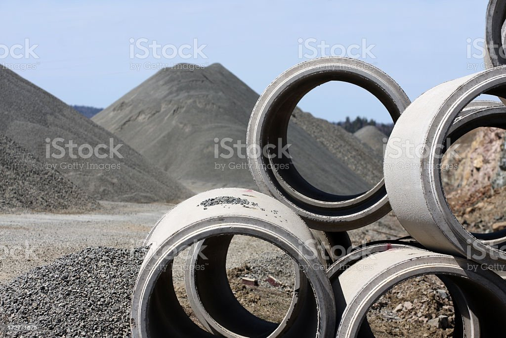 Close up photo of cement tubes used in road construction royalty-free stock photo