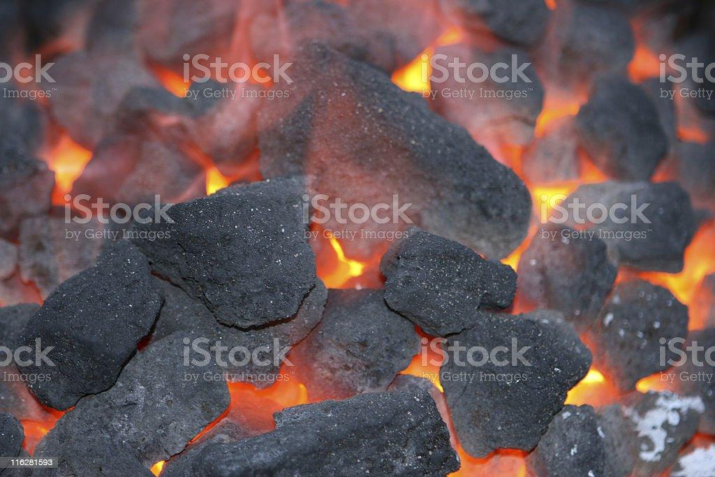 Close up photo of charcoal burning stock photo