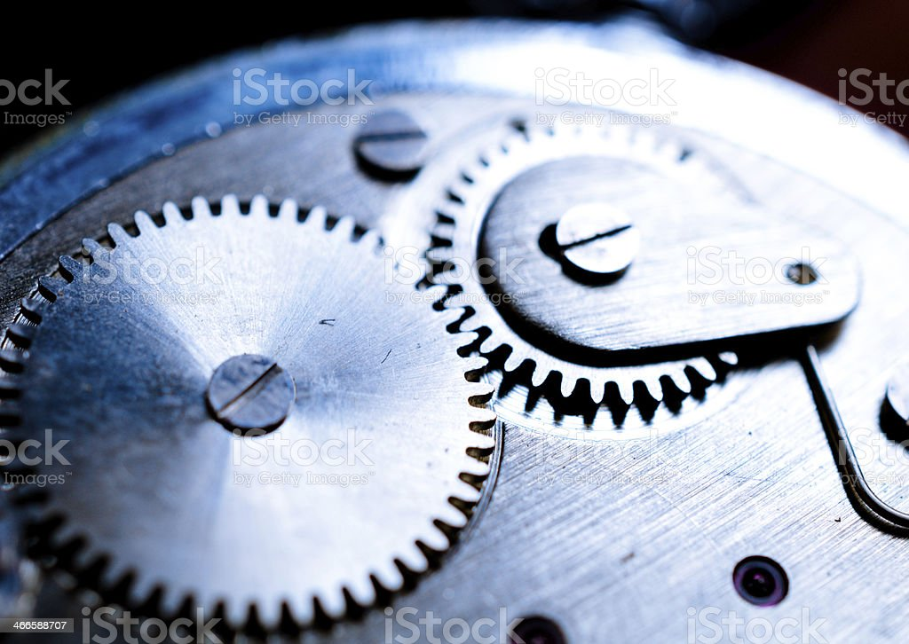 Close up photo of cogwheels and transmission mechanism in wristwatch royalty-free stock photo