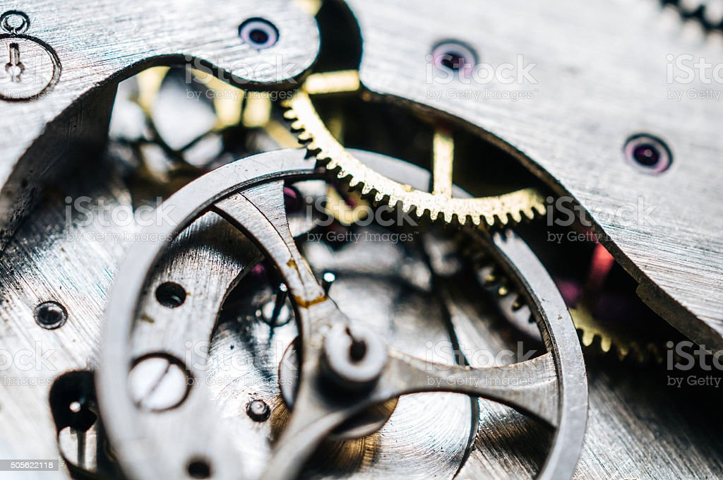 Close up photo of cogwheels and transmission mechanism in wristwatch stock photo
