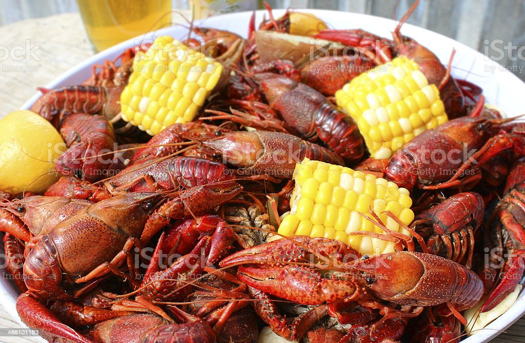 Close Up Photo of Crawfish Boil stock photo