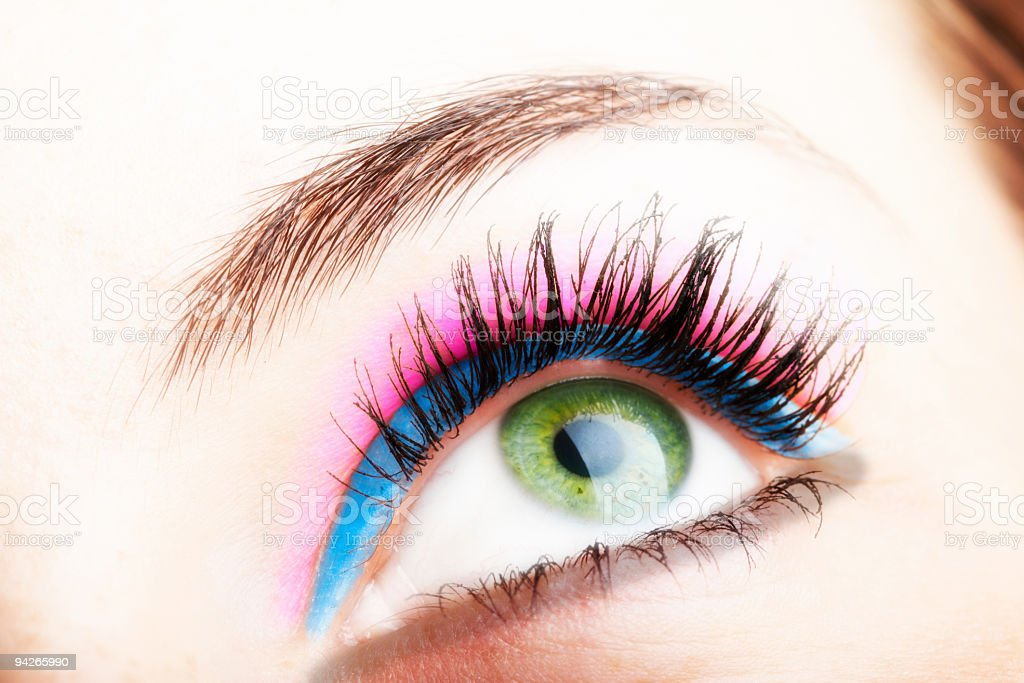 Close up photo of female green color eye royalty-free stock photo