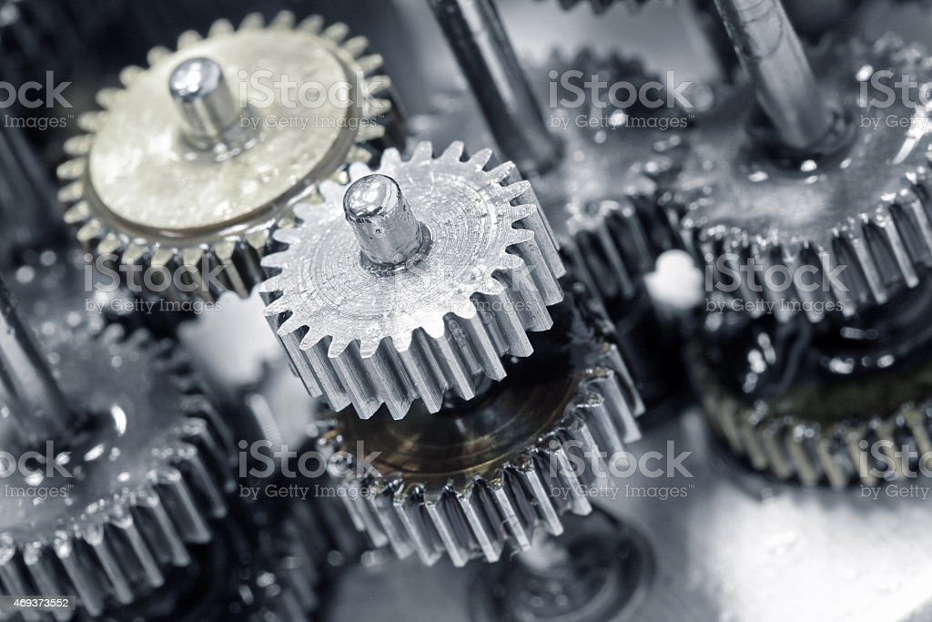 Close up photo of gears and wheels stock photo