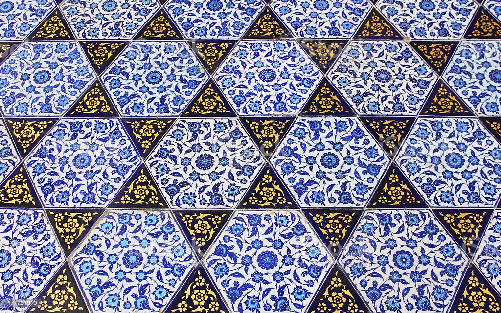 Close up photo of handmade Turkish tiles royalty-free stock photo