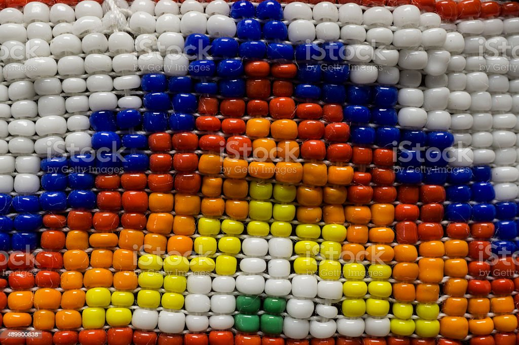 Close Up Photo of Native American Indian Beads stock photo