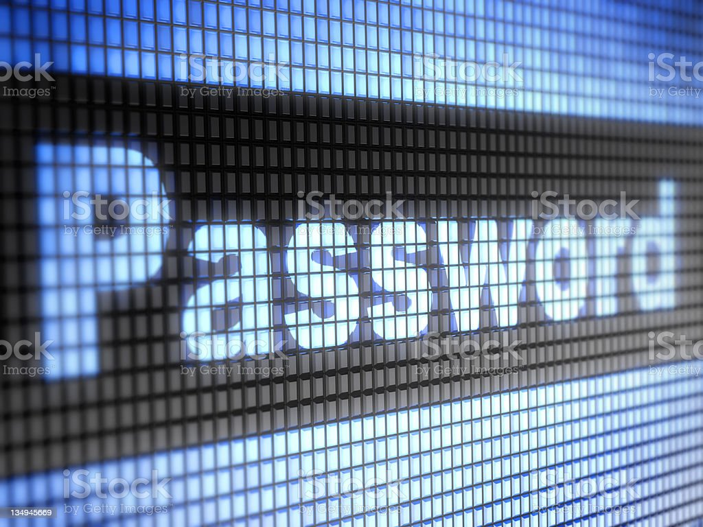 Close up photo of screen pixels spelling password royalty-free stock photo