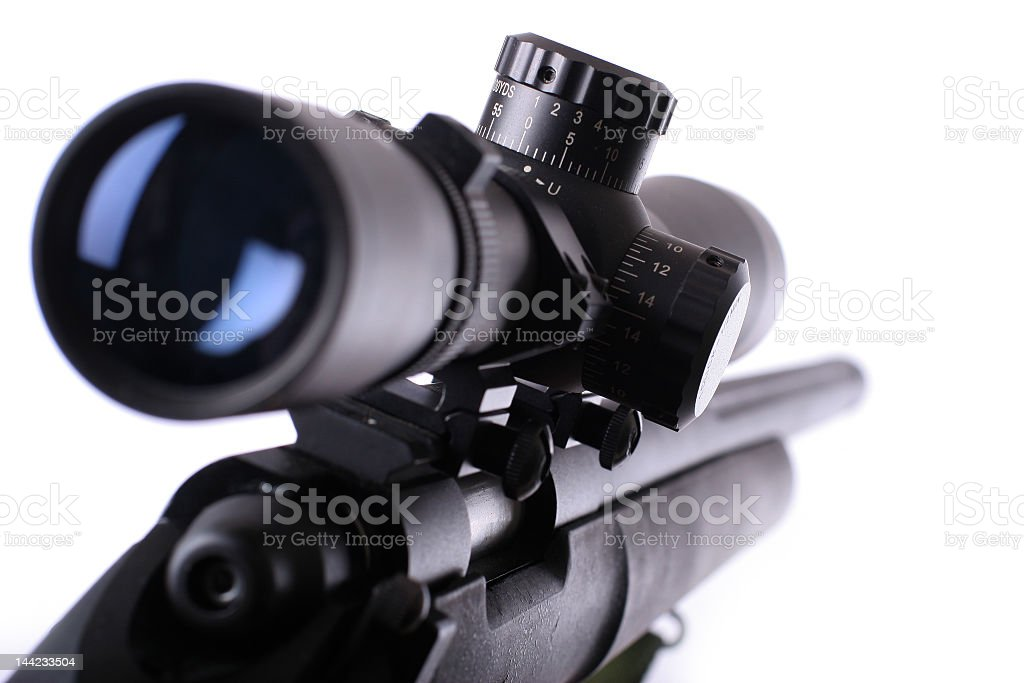 Close up photo of sniper rifle on white background stock photo