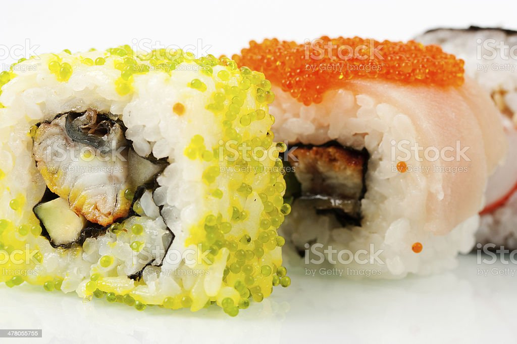 Close up photo of the sushi with caviar royalty-free stock photo