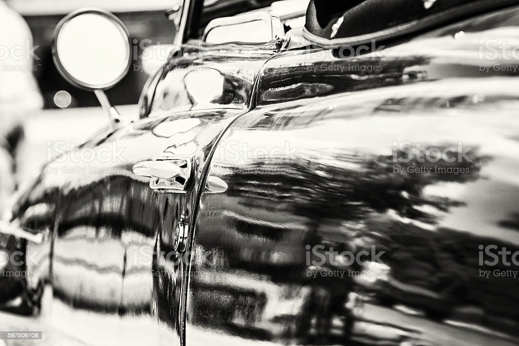 Close up photo of veteran car with rear-view mirror stock photo