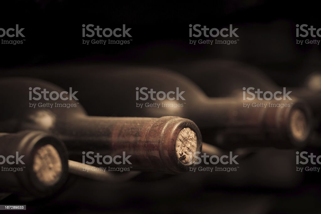 Close up photo of vintage bottles of wine stock photo