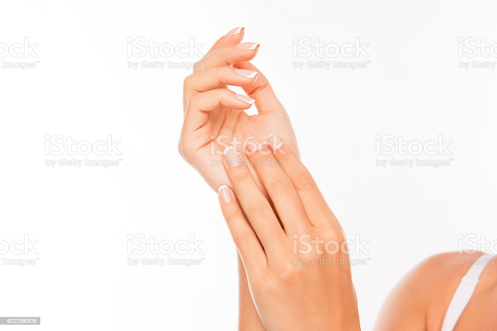 Close up photo of woman's hands with perfect skin stock photo