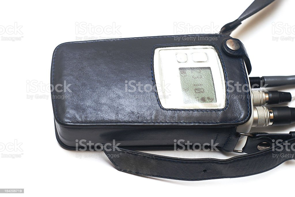 Close up photograph of a heart monitor in a leather case  stock photo