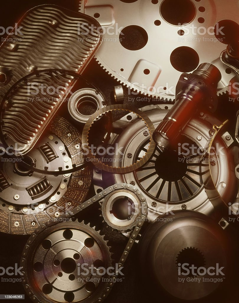 A close up photograph of mechanical pieces and gears  royalty-free stock photo