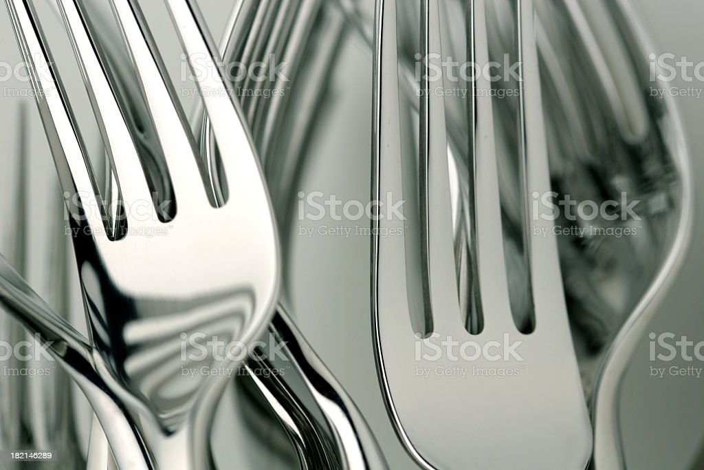 Close up photograph of silver forks royalty-free stock photo