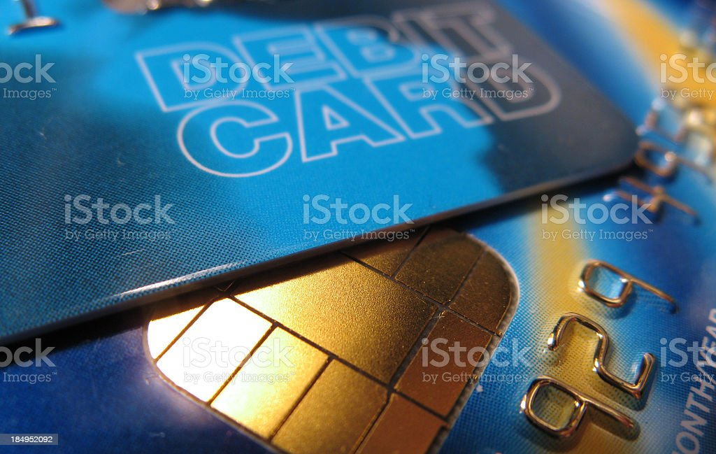 Close up picture of a debit card stock photo