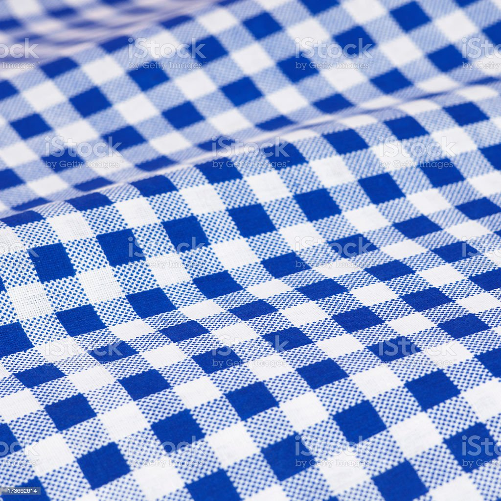 Close up picture of blue checkered (gingham) cloth royalty-free stock photo