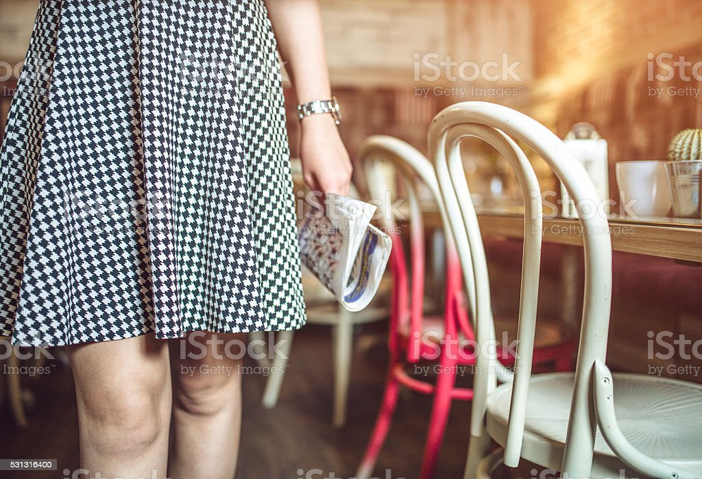 close up picture of female legs in a skirt stock photo