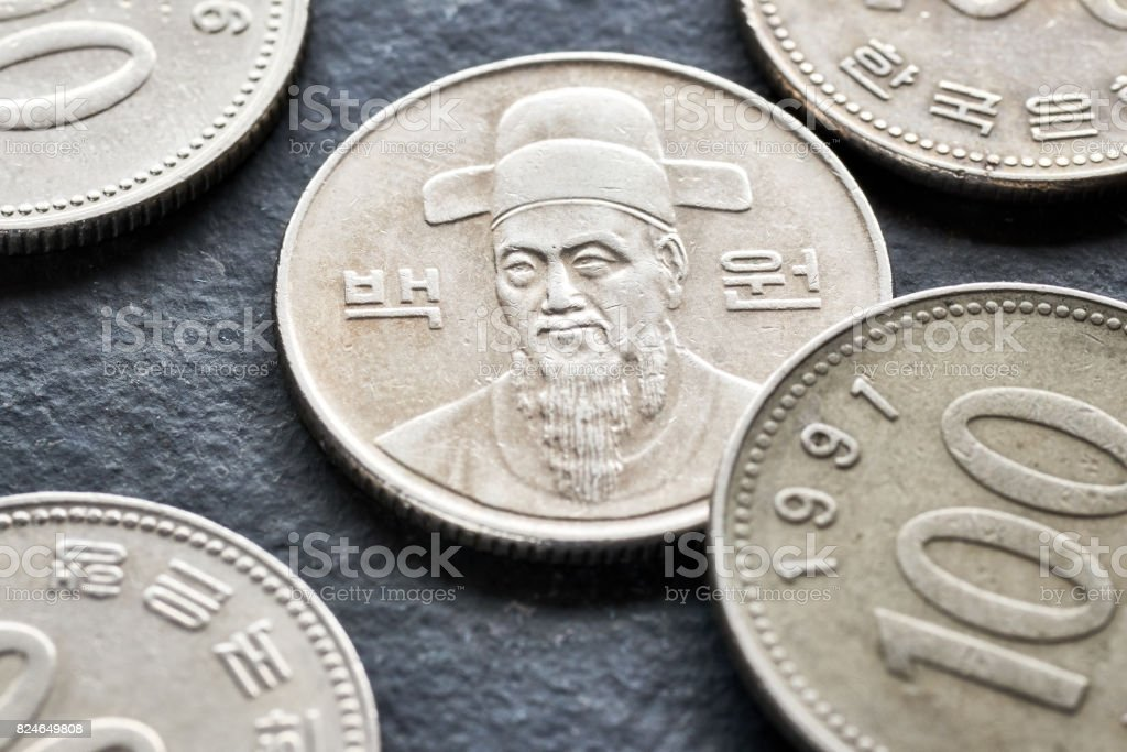Close up picture of South Korean won. stock photo
