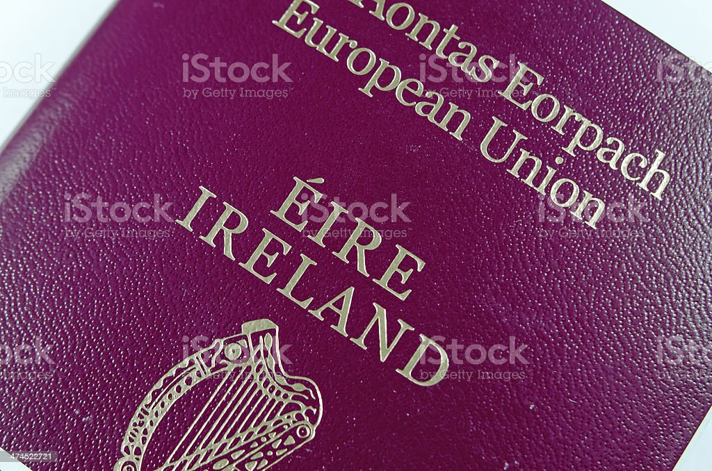 close up picture of the cover of Irish passport royalty-free stock photo