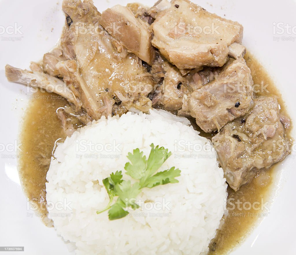 close up Pork rib roast with sweet sauce royalty-free stock photo