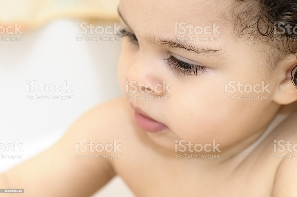 Close Up Portrait 17 Months Old Baby Girl In Bathroom royalty-free stock photo