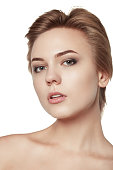 close up portrait beauty short hair makeup isolated white