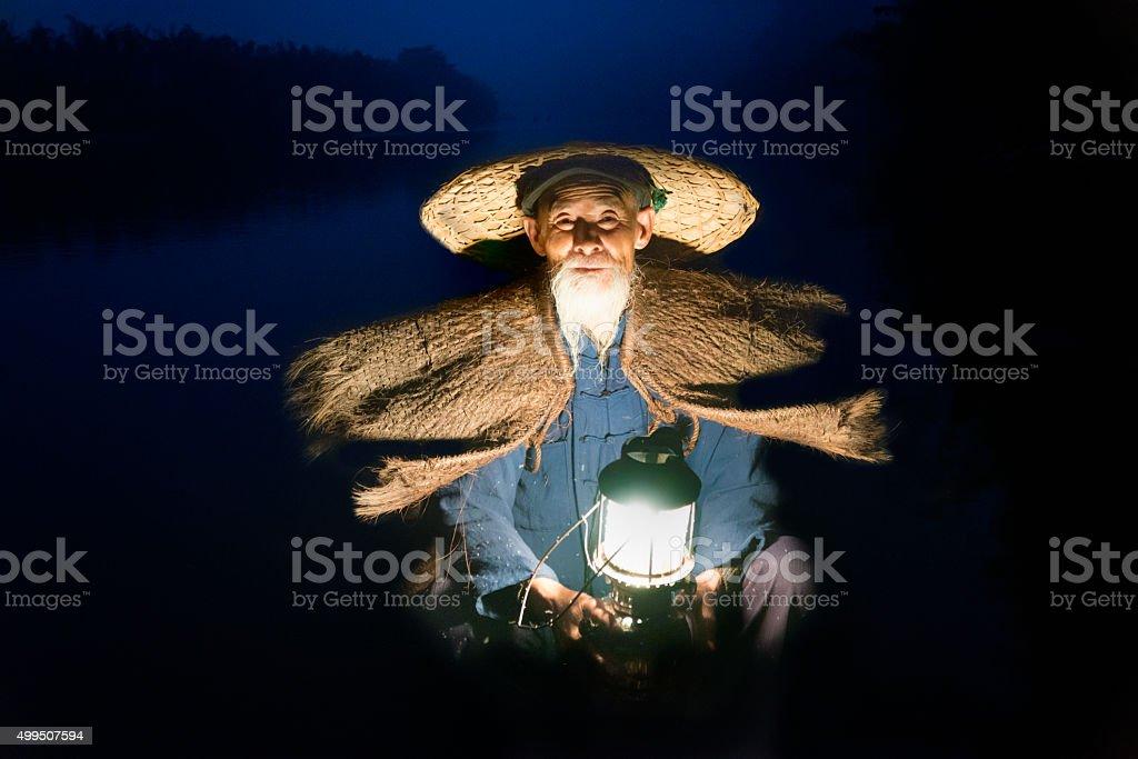 Close up Portrait Chinese traditional fisherman, Li River China stock photo