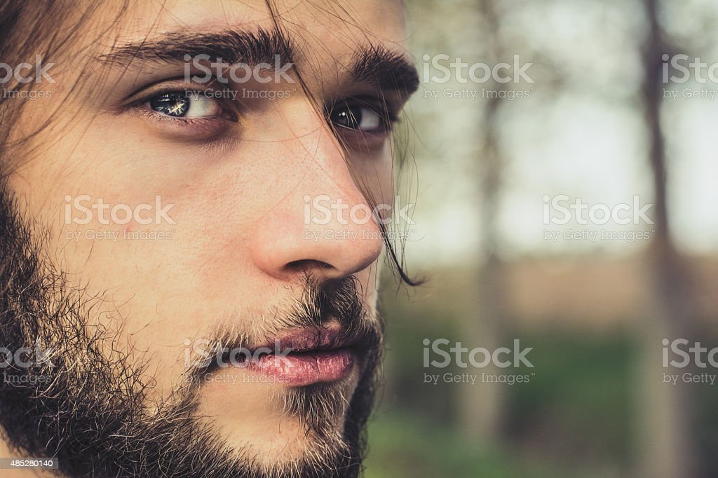 Close up portrait of a man stock photo