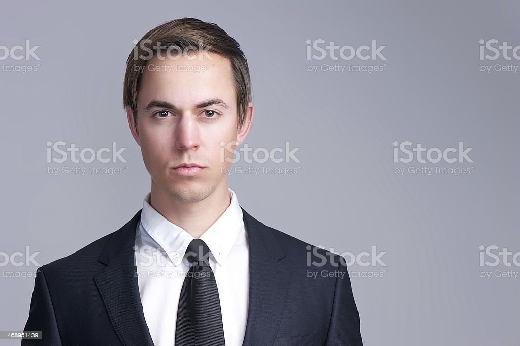 Close up portrait of a serious business man face royalty-free stock photo