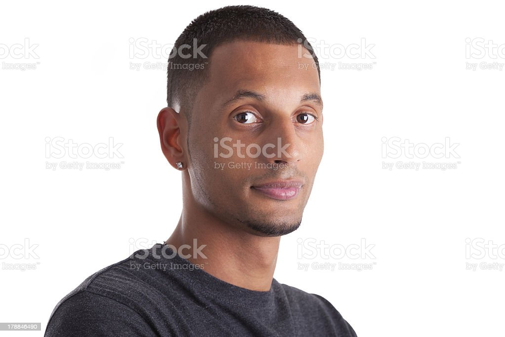 Close up portrait of a young african american man royalty-free stock photo
