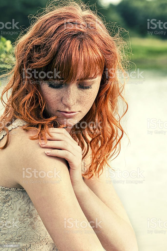 Close up portrait of a young woman with red hair royalty-free stock photo