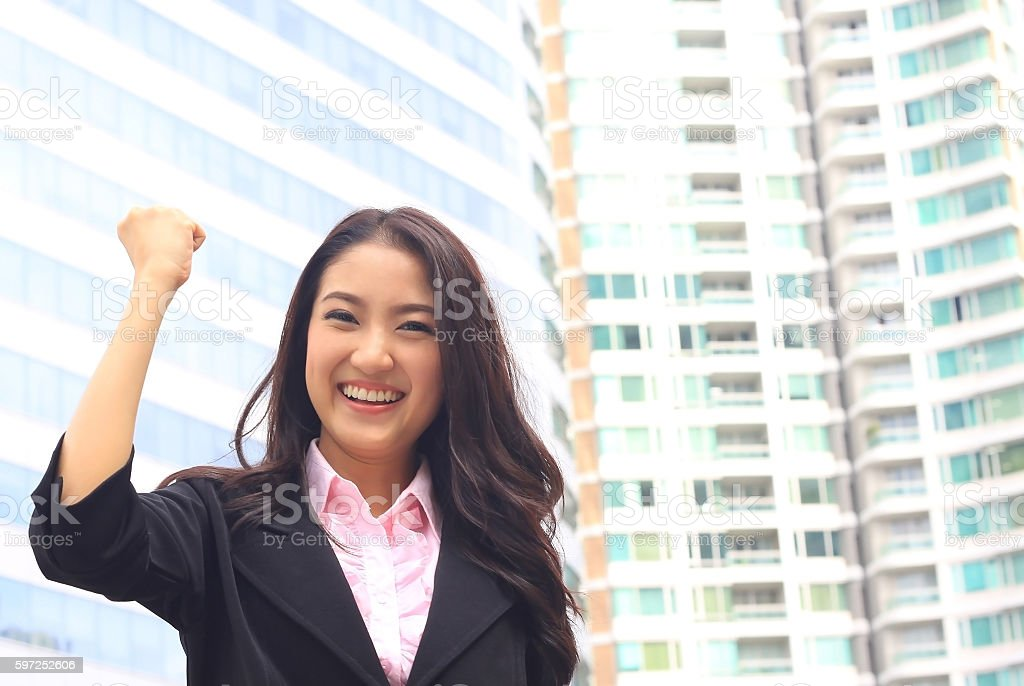 Close up portrait of Asian woman in business suite stock photo