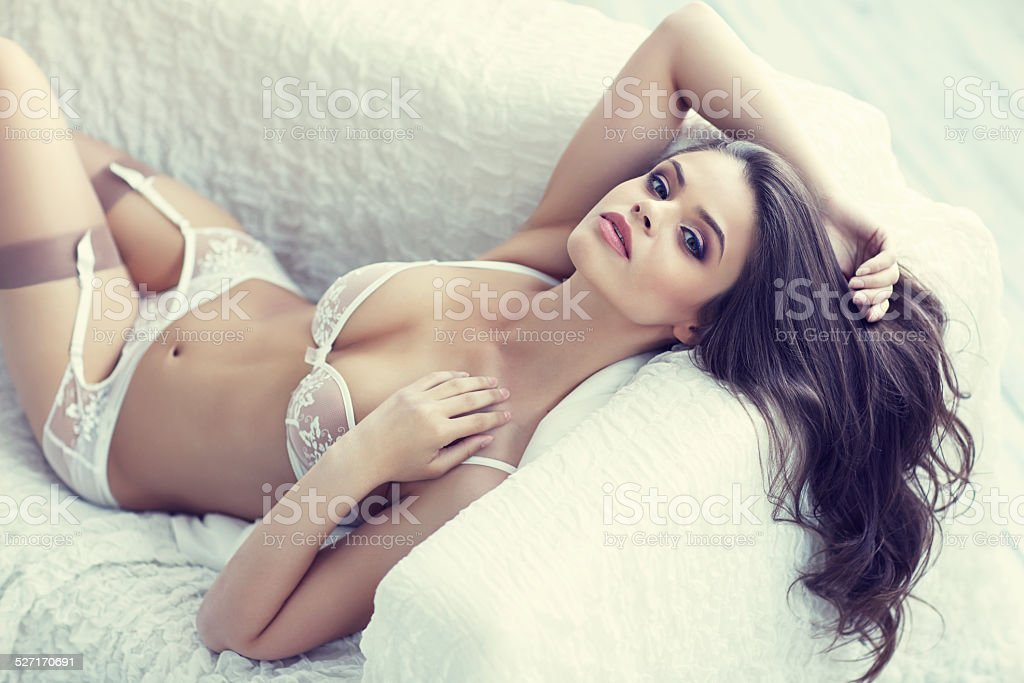 close up portrait of beautiful alluring young woman stock photo