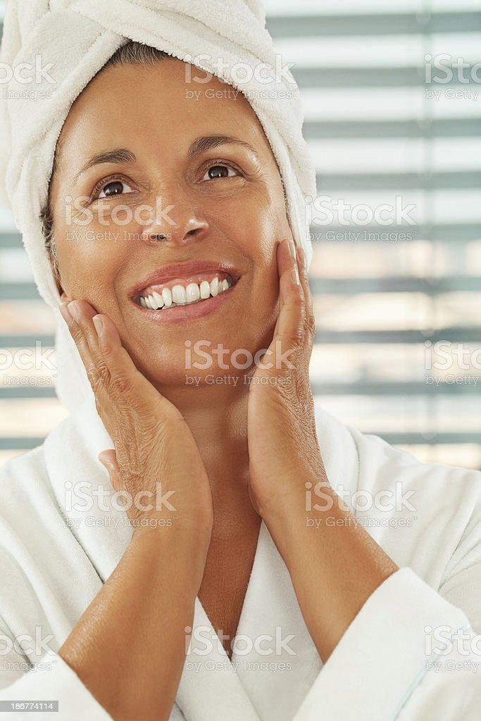 Close up portrait of beautiful mature woman royalty-free stock photo