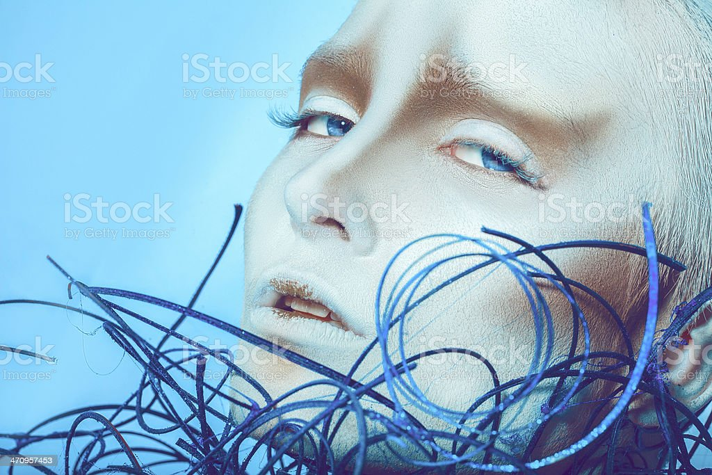 close up portrait of beautiful woman with body art royalty-free stock photo