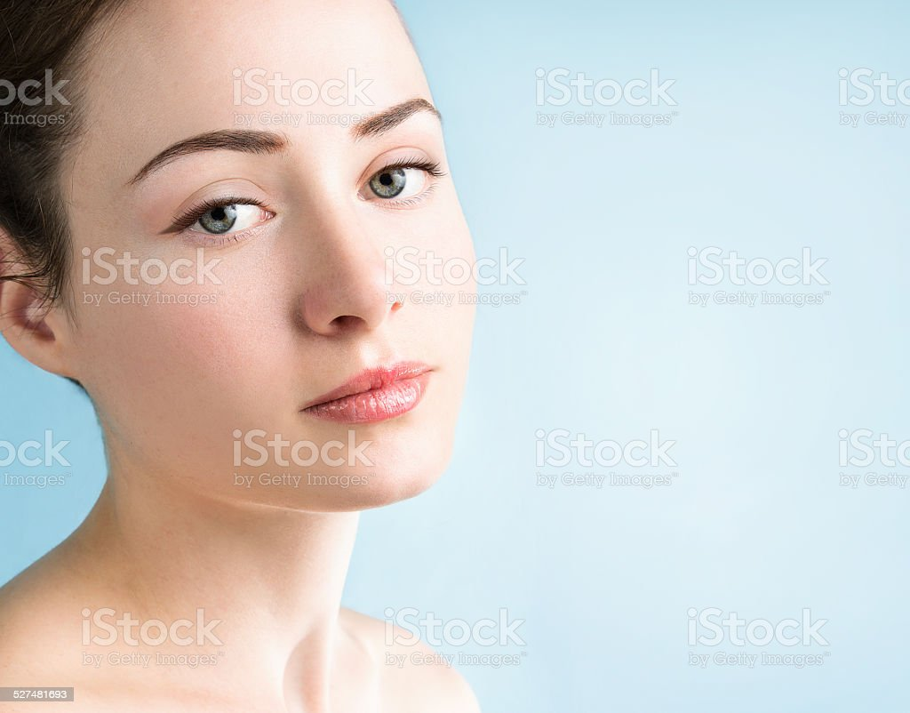 Close up portrait of beautiful young woman stock photo
