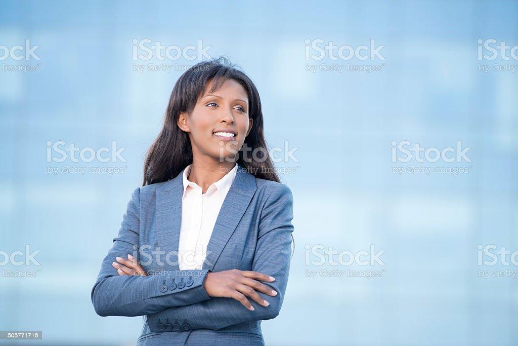 Close up portrait of businesswoman. stock photo