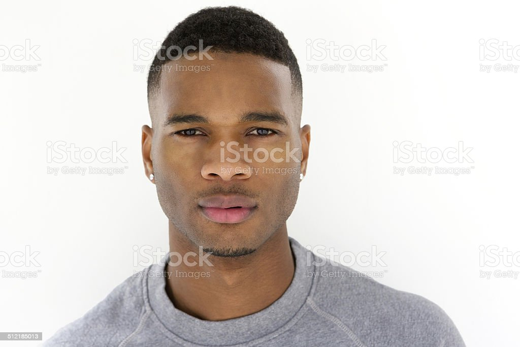 Close up portrait of cool young guy stock photo