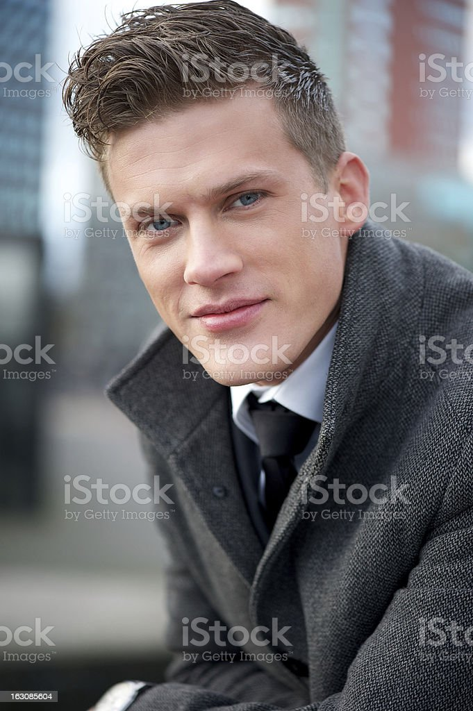 Close Up Portrait of Handsome Young Businessman Outdoors royalty-free stock photo
