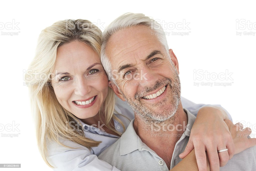 Close up portrait of happy mature couple stock photo