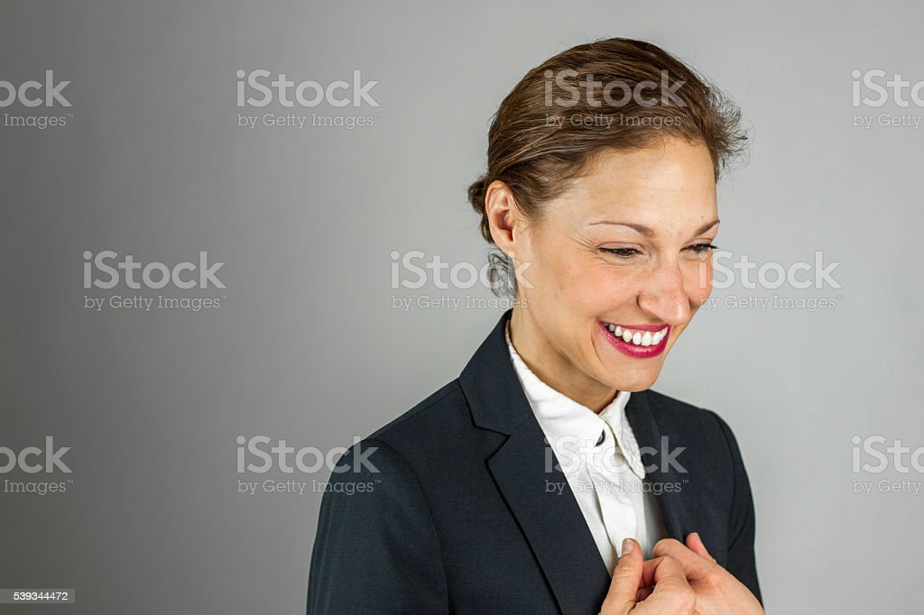Close up portrait of successful business woman stock photo