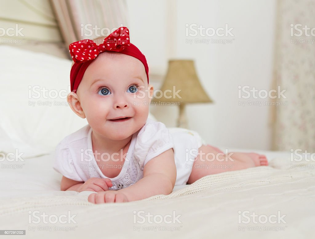 Close up portrait of the baby indoor stock photo