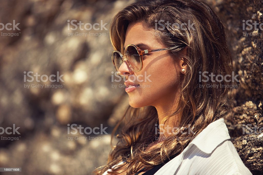 Close up portrait of young beautiful woman in sunglasses. royalty-free stock photo