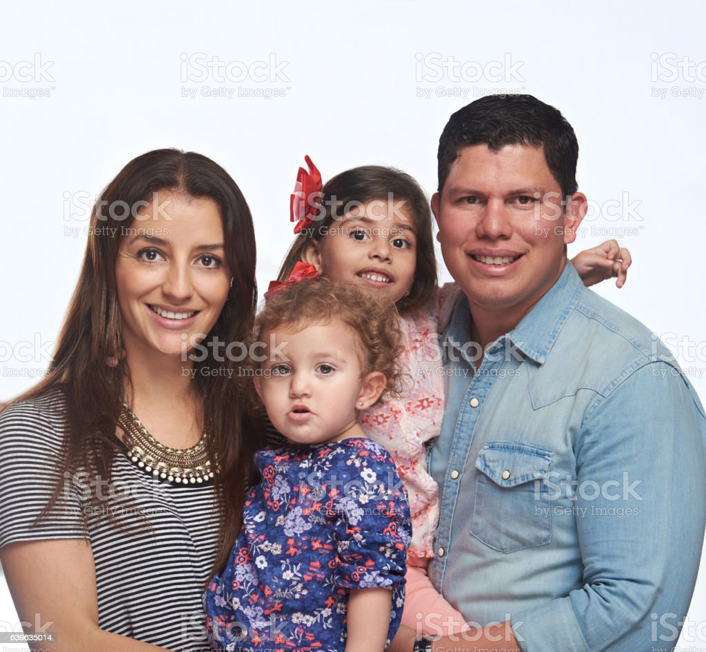 Close up portrait of young family stock photo